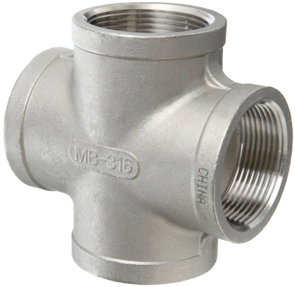 """Stainless Steel 304 Cast Pipe Fitting, Cross, Class 150, 1/4"""" NPT Female"""