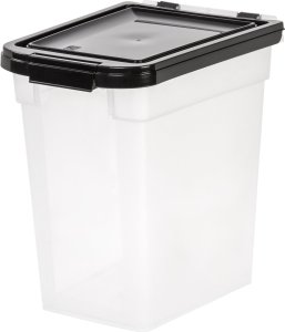IRIS Airtight Pet Food Container, 10-Pound, Clear/Black