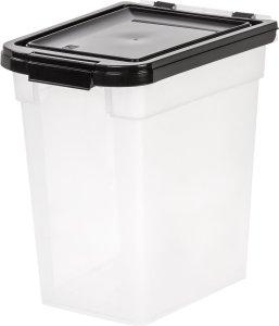 IRIS Airtight Pet Food Container, 10-Pound, Clear/Black