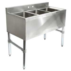 Three 3 Compartment Stainless Steel Commercial Kitchen Sink
