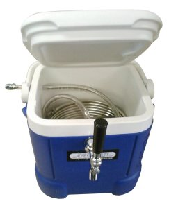 HBS-JB003 Homebrewstuff Mini Jockey Box Draft Beer Dispenser Stainless Steel Coil Chiller, Blue
