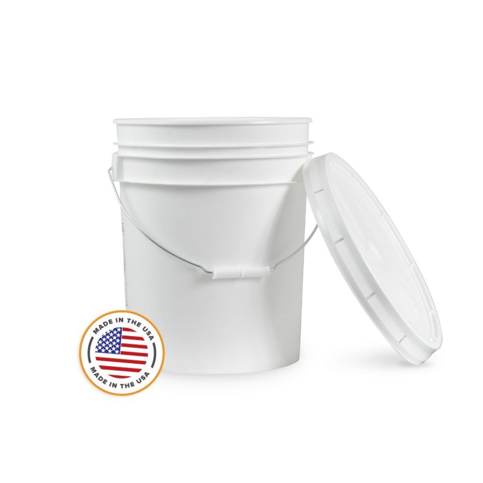 5 Gallon Bucket With Lid - Food Grade - BPA Free - 90 Mil Thickness