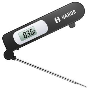 Habor Digital Meat Thermometer, Cooking Temperature Kitchen Instant Read Sensor with Largre LCD, Folding Long Probe for BBQ Grill Smokers Chicken Turkey Cake Brewing Milk, Black