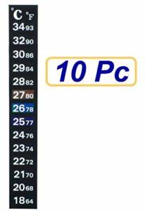 SUKRAGRAHA Traditional Stick-on Digital Temperature Thermometer Strip Degree Celsius Fahrenheit System Display 10 pc Black