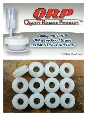 """12 QRP PLASTIC LID AIRLOCK GROMMETS 1/16"""" Groove White Food Grade Silicone for fermenting in Mason Jars ~ Bulk Quantities Available"""
