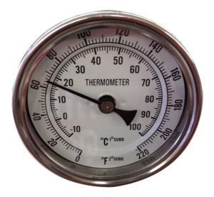 Thermometer Dial with Stainless Probe & Calibration Screw, 0 - 220°