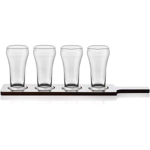 Libbey Craft Brews 4-piece Beer Flight Glass Set with Wooden Carrier