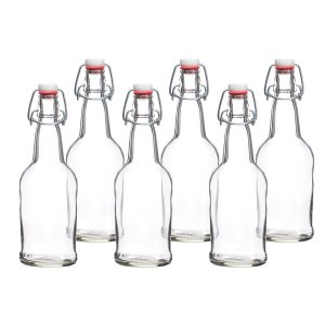 6 Pack - 16 Ounce Grolsch Bottles with Easy Cap Flip Top Caps for Brewing Beer, Kombucha, Kefir, Water, Thick High-Grade Glass, Resealable, Clear, by California Home Goods