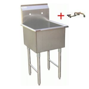 "Apex DuraSteel 1 Compartment Stainless Steel Commercial Food Preparation Sink with 6"" No Lead Faucet, 15 x 15"