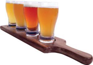 "Alcraft Beer Tasting Flight Tray Set w/ 17"" Paddle & 6 Ounce Pilsner Glasses"