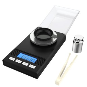 Homgeek Digital Milligram Scale 50 x 0.001g, Pocket Scale Mini Jewelry Gold Powder Weigh Scales with Calibration Weights Tweezers, Weighing Pans, LCD Display