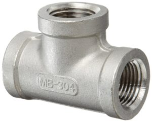 """Stainless Steel 304 Cast Pipe Fitting, Tee, Class 150, 1/4"""" NPT Female"""