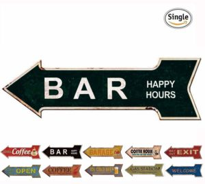 Bar Signs Retro Arrow Embossed Metal Signs for Wall Decoration