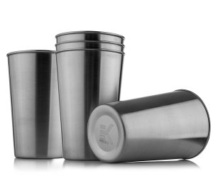 Eekay wares Stainless-Steel, Shatterproof Pint Cups, Set of 5, 16 Oz , Unbreakable, BPA free Eco-friendly