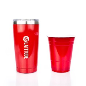 45 Degrees Latitude Stainless Steel Tumbler, Perfect Travel Coffee Cup, Insulated Tumbler With Lid Will Prevent Any Splashing So You Can Feel Confident Driving With A Cup Of Hot Coffee - 20 oz Red