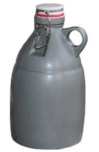 64oz Gray Stonefire Ceramic Beer Growler with Flip Top Lid