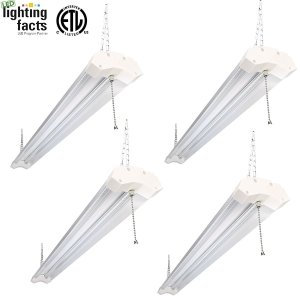 Hykolity 4ft 40w LED Shop Garage Hanging Light Fixture 4800 Lumens 5000K Daylight White Linkable 64w Flourscent Equivalent with 1.5 Times Light Output-Pack of 4
