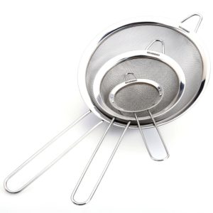Fine Mesh Stainless Steel Strainers - Premium Quality - Set of 3 - Food Strainer & Sieve - Best for Kitchen, Tea, Rice & Juice Use - 5 Free Recipes eBooks