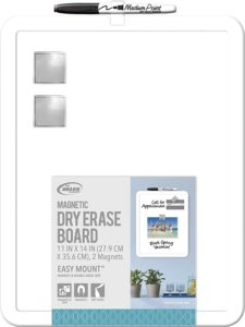 "Board Dudes 11"" x 14"" Plastic Framed Magnetic Dry Erase Board Includes 1 Marker and Magnet (DDD49)"
