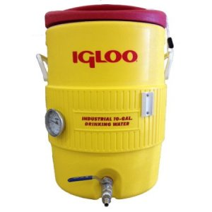 "Quick Fit 10 Gallon Igloo Mash Tun with Stainless Steel False Bottom, Stainless Steel Valve and 3"" Dial Probe Thermometer"