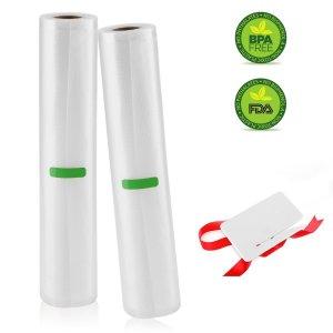 Vacuum Sealer Rolls, 2 Pack 11' x 16.5' Commercial Vacuum Sealer Rolls for Food Saver, Sous Vide cooking, Mircowave & Freezer Food Storage