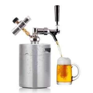HaveGet 64 Ounce Mini Beer Keg Pressurized Growler for Craft Beer Dispenser System CO2 Adjustable Draft Beer Faucet with Perfect Pour Regulator