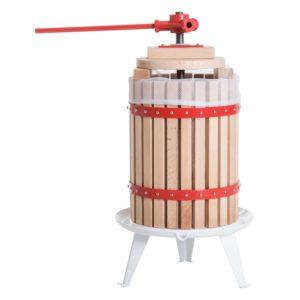 HomCom 4.75 Gallon Wood Basket Manual Fruit Juice Maker and Wine Press - Red