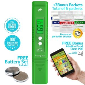 Digital pH Meter - Pocket SIZE - pH Pen Tests Household Drinking Water, Aquarium, Swimming Pools, Hydroponics, Water Quality, with ATC, 0-14 pH Measuring Range with 6x pH Buffer Powders. Green