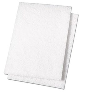 "Premiere Pads PAD 198 Light Duty Scouring Pad, 9"" Length by 6"" Width, White (Case of 20)"