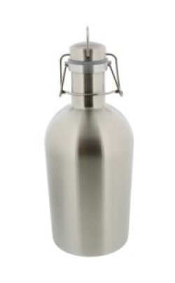 Beer Growler - 2 liter, 67 ounces - Double Wall Stainless Steel with Swing-Top, Keeps Homebrew Fresh and Cold with Airtight Seal