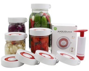 AMZUShome Fermenting Lids Kit Waterless Airlock For Wide Mouth Mason Jar Fermentation Not Crock Pots,Make Sauerkraut, Kimchi, Pickles Or Fermented Probiotic Foods. 4 Pack+1 Pump+1 Sponge Brush (White)