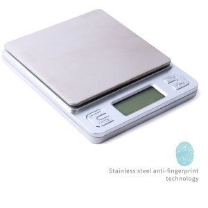 Dapai Mini Digital Kitchen Scale, Multifunction Food Scale, 0.1g-3kg, Tare & PCS Functions, Back-Lit LCD Display, Stainless Steel, Batteries Included