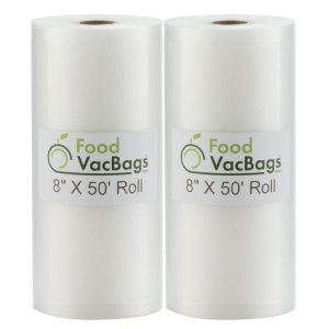"""Two 8""""X50' Rolls of FoodVacBags 4 mil Commercial Grade Vacuum Sealer Bags - Make Your Own Size Bag! - for Foodsaver, Seal-A-Meal, plus other machines"""