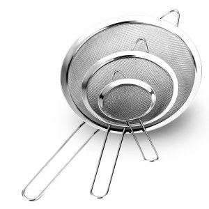 Letrue Fine Mesh Strainers - Set of 3 - Premium Quality Stainless Steel with Long Wire Handle Strainer Colander Sieve - Best for Kitchen, Tea, Rice, Vegetable & Juice Use
