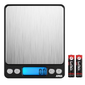 AMIR Digital Kitchen Scale, 3000g 0.01oz/0.1g Pocket Cooking Scale, Mini Food Scale, Pro Jewelry Scale with Back-Lit LCD Display, Tare & PCS Functions, Stainless Steel, Batteries Included (Black)