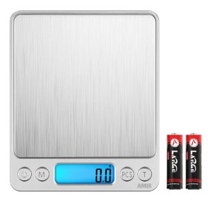 AMIR Digital Kitchen Scale, 3000g 0.01oz/0.1g Pocket Cooking Scale, Mini Food Scale, Pro Electronic Jewelry Scale with Back-Lit LCD Display, Tare & PCS Functions, Stainless Steel, Batteries Included