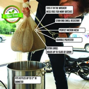 """Extra Large (26"""" x 22"""") Reusable Drawstring Straining Brew in a Bag"""