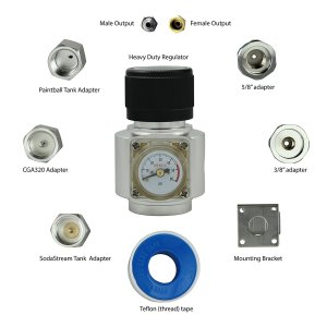 Ultimate CO2 Regulator works with 5 types of CO2 tanks (0-50psi)