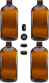4 Pack - 32oz Boston Round Amber Glass Growler - with Phenolic Poly Cone Insert Caps - Tight Seal for Secondary Kombucha Fermentation