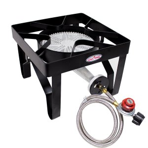 GAS ONE 200,000 BTU Square Heavy- Duty Single Burner Outdoor Stove Propane Gas Cooker with Adjustable 0-20PSI Regulator and Steel Braided Hose Perfect for Home Brewing, Turkey Fry, Maple Syrup Prep