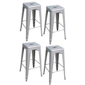 AmeriHome Metal Bar Stool Set, 30-Inch, Silver, Set of 4