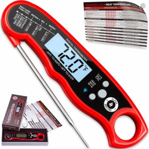 Instant Read Meat Thermometer For Grill And Cooking. UPGRADED WITH BACKLIGHT AND WATERPROOF BODY. Best Ultra Fast Digital Kitchen Probe. Includes Internal...