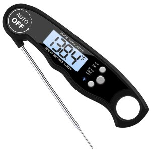 AMIR Digital Meat Thermometer, WATERPROOF Instant Read Cooking Thermometer, UPGRADED WITH BACKLIGHT CALIBRATION, Fast Probe, for Kitchen, BBQ, Grill Food, Auto On/Off, Battery Included (Black)