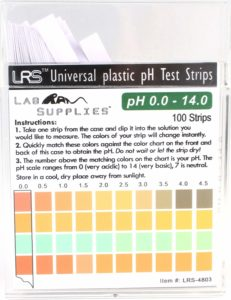 pH Test Strips, Universal Application (pH 0.0-14.0, 0.5 pH Intervals), 100 Strips