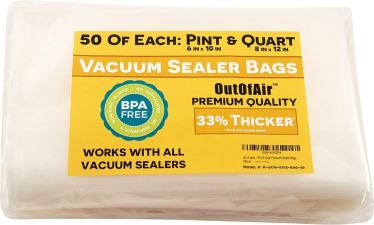 "100 Vacuum Sealer Bags: 50 Pint (6"" x 10"") and 50 Quart (8"" x 12"") OutOfAir Vacuum Sealer Bags for Foodsaver and Other Savers. 33% Thicker than Others, BPA Free, FDA Approved, Great for Sous Vide"