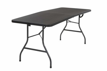 """Cosco 14678BLK1 Deluxe 6 Foot x 30 inch Half Blow Molded Folding Table, Black, 72"""" (Rectangle),"""