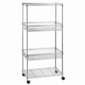 4-Shelf Shelving Unit, Wire Shelves with 4 Caster Wheels, Adjustable Basket Storage Rack, Chrome, by Kealive