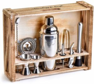 Mixology Bartender Kit: 11-Piece Bar Tool Set with Rustic Wood Stand - Perfect Home Bartending Kit and Cocktail Shaker Set For an Awesome Drink Mixing Experience