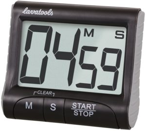 Lavatools KT1 Digital Kitchen Timer & Stopwatch, Large Digits, Loud Alarm, Magnetic Stand (Black)