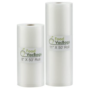 """Two FoodVacBags Rolls of 4 mil Vacuum Sealer Bags, One 8"""" W x 50' L and One 11"""" W x 50' L"""